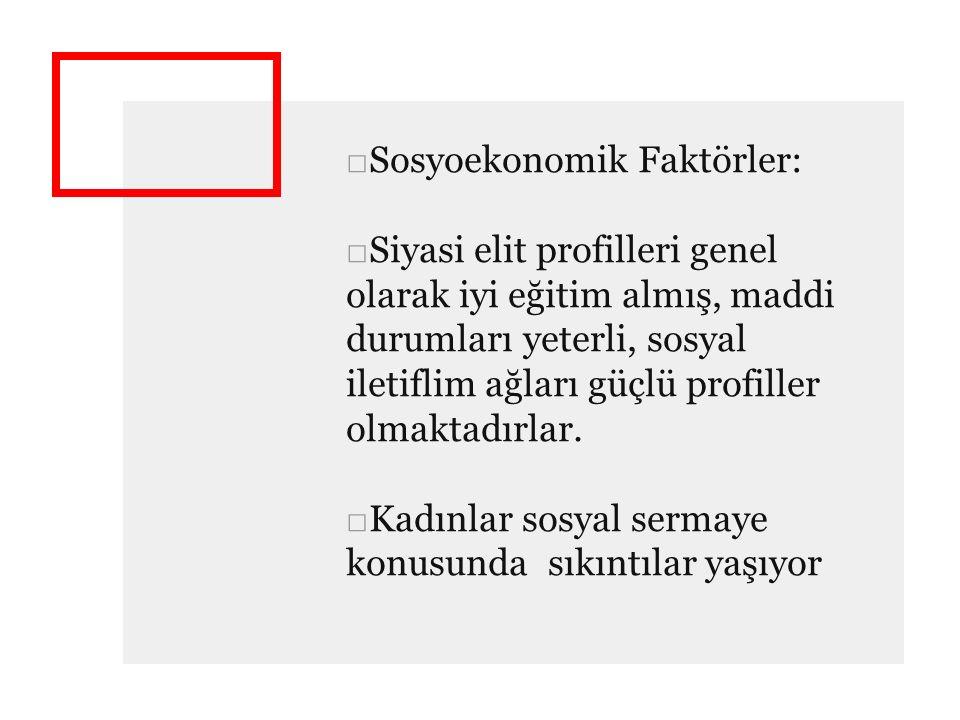Sosyoekonomik Faktörler: