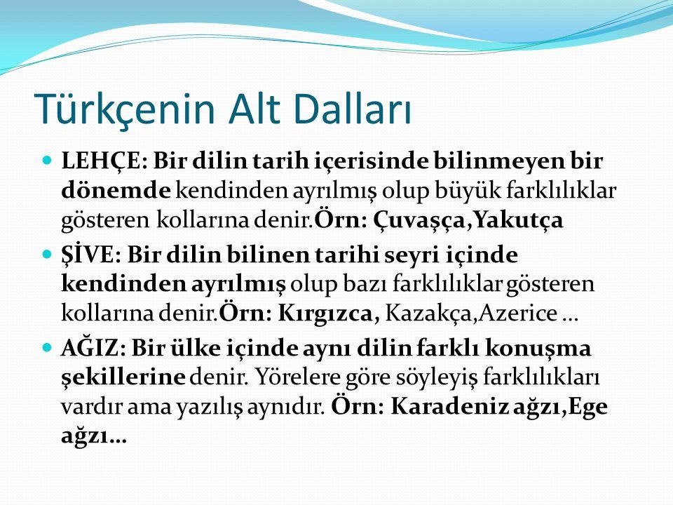 Türkçenin Alt Dalları