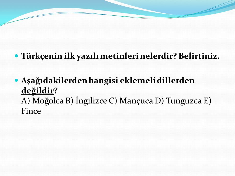 Türkçenin ilk yazılı metinleri nelerdir Belirtiniz.