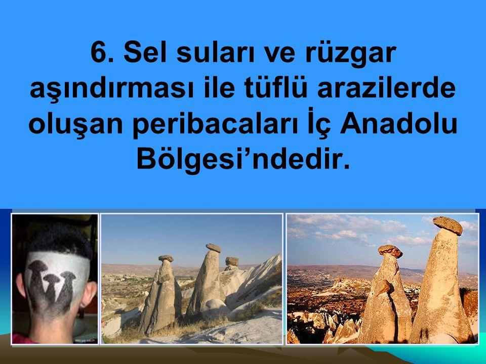 6. Sel suları ve rüzgar aşındırması ile tüflü arazilerde oluşan peribacaları İç Anadolu Bölgesi'ndedir.