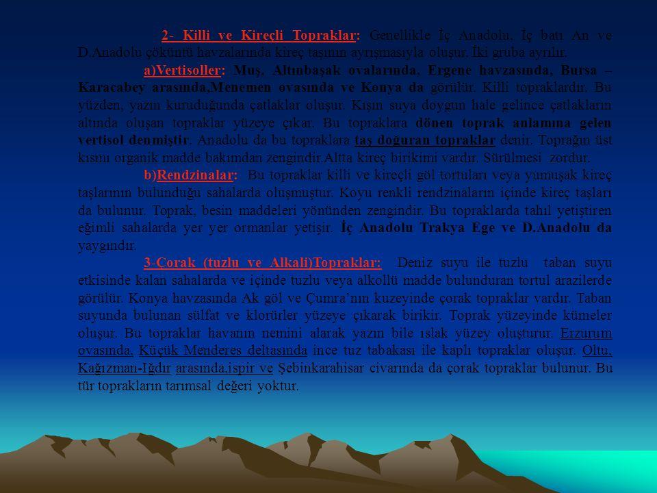 2- Killi ve Kireçli Topraklar: Genellikle İç Anadolu, İç batı An ve D
