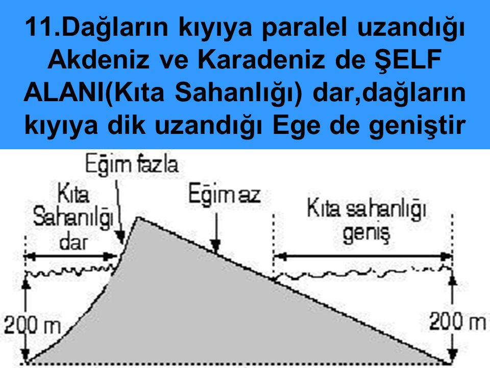 11.Dağların kıyıya paralel uzandığı Akdeniz ve Karadeniz de ŞELF ALANI(Kıta Sahanlığı) dar,dağların kıyıya dik uzandığı Ege de geniştir