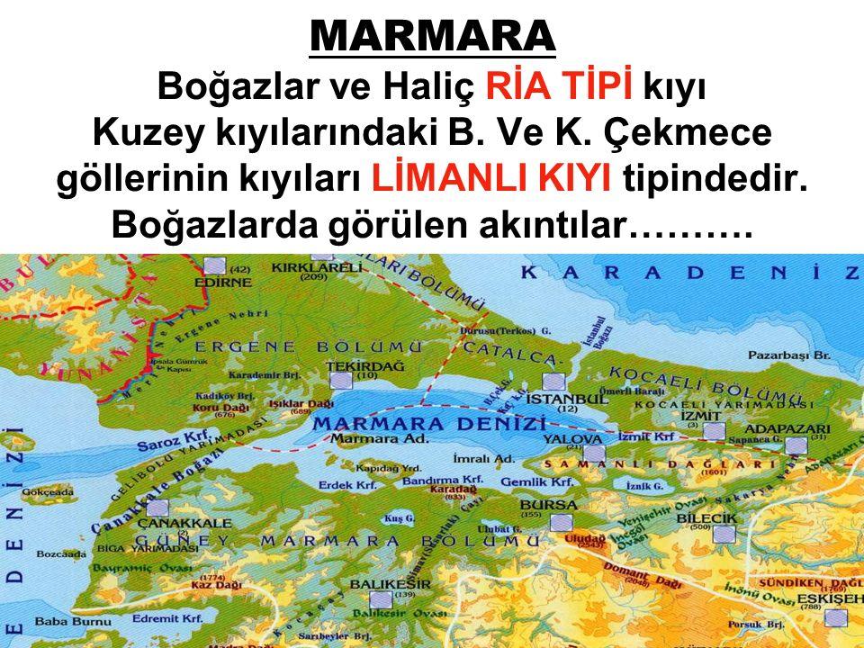 MARMARA Boğazlar ve Haliç RİA TİPİ kıyı Kuzey kıyılarındaki B. Ve K
