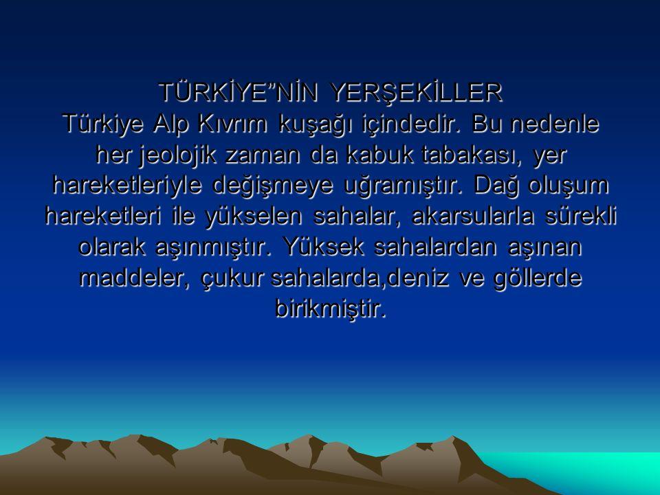 TÜRKİYE NİN YERŞEKİLLER Türkiye Alp Kıvrım kuşağı içindedir