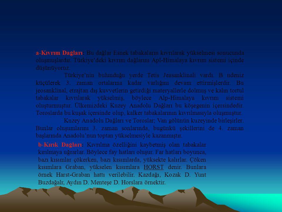 a-Kıvrım Dağları: Bu dağlar Esnek tabakaların kıvrılarak yükselmesi sonucunda oluşmuşlardır. Türkiye'deki kıvrım dağlarını Apl-Himalaya kıvrım sistemi içinde düşünüyoruz.