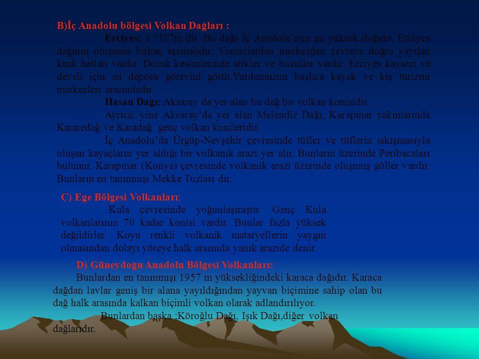 B)İç Anadolu bölgesi Volkan Dağları :