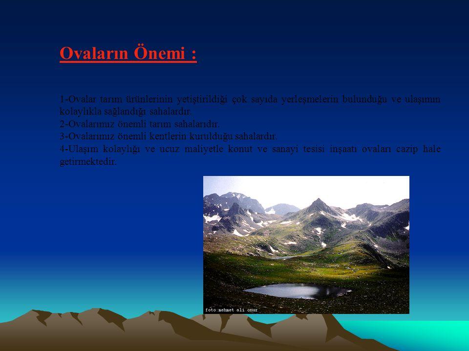 Ovaların Önemi : 1-Ovalar tarım ürünlerinin yetiştirildiği çok sayıda yerleşmelerin bulunduğu ve ulaşımın kolaylıkla sağlandığı sahalardır.
