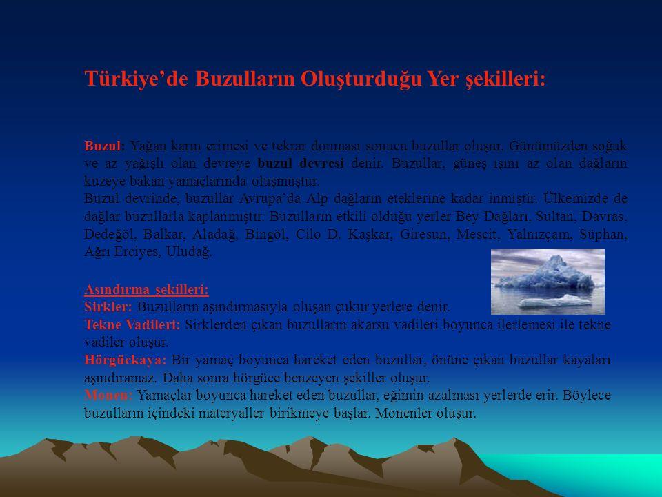 Türkiye'de Buzulların Oluşturduğu Yer şekilleri:
