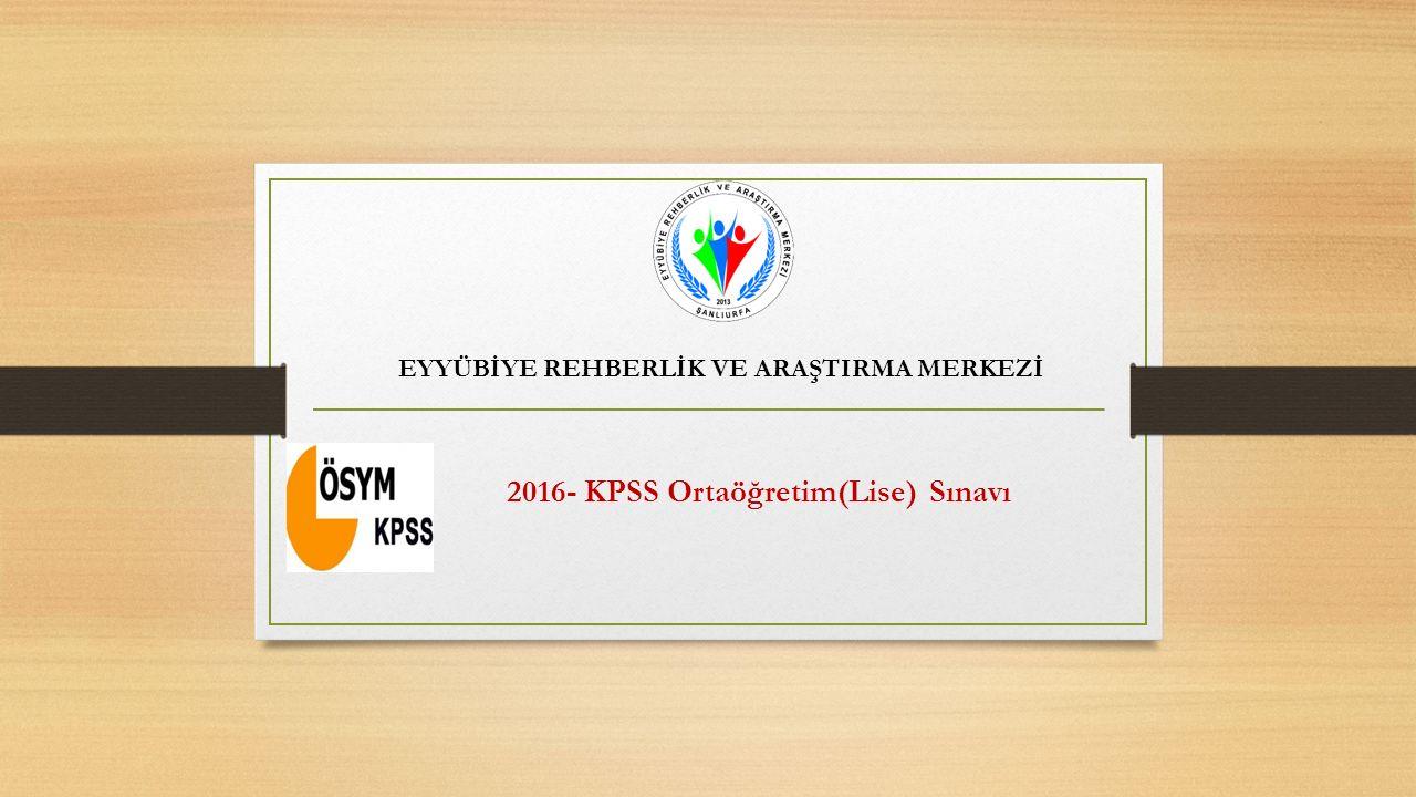2016- KPSS Ortaöğretim(Lise) Sınavı