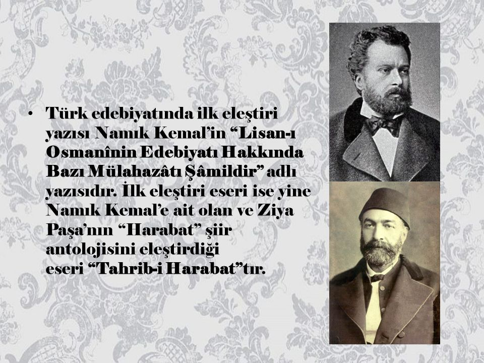 Türk edebiyatında ilk eleştiri yazısı Namık Kemal'in Lisan-ı Osmanînin Edebiyatı Hakkında Bazı Mülahazâtı Şâmildir adlı yazısıdır.