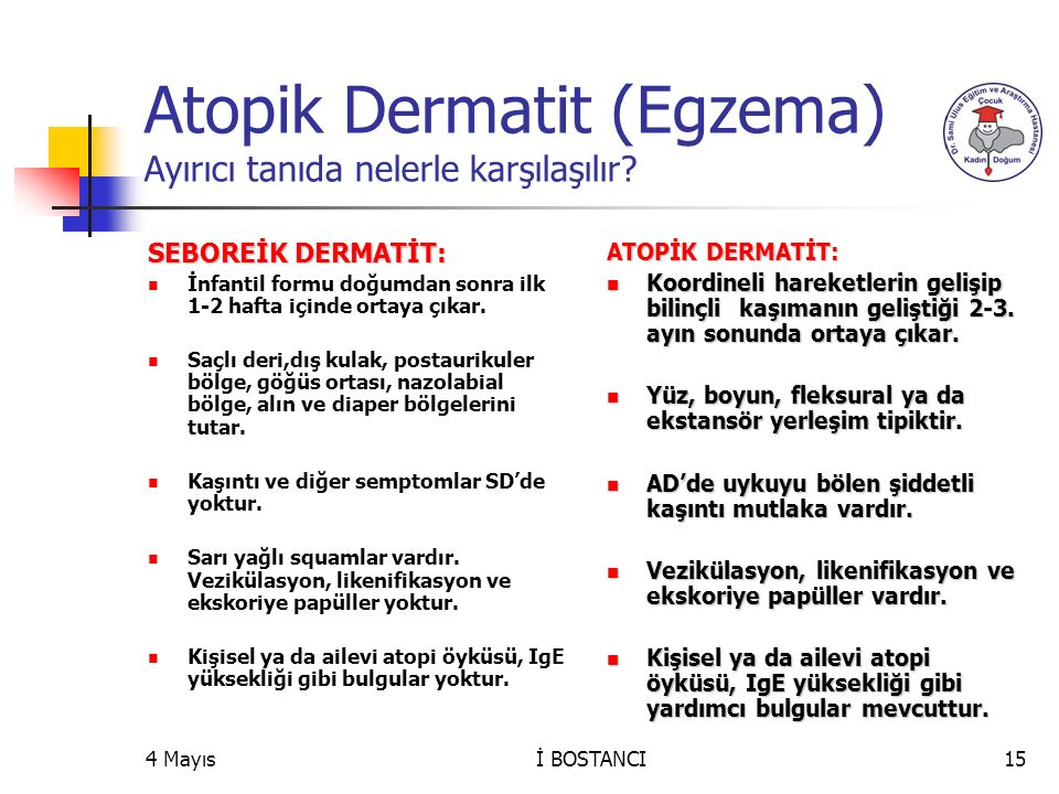 Atopik Dermatit (Egzema) Ayırıcı tanıda nelerle karşılaşılır