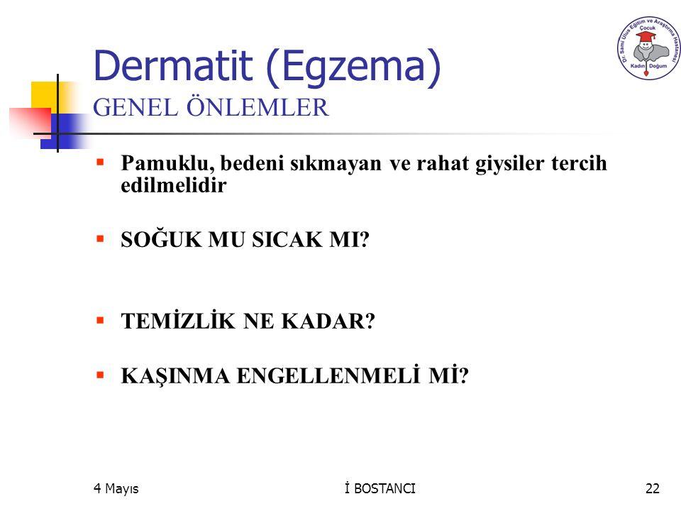 Dermatit (Egzema) GENEL ÖNLEMLER