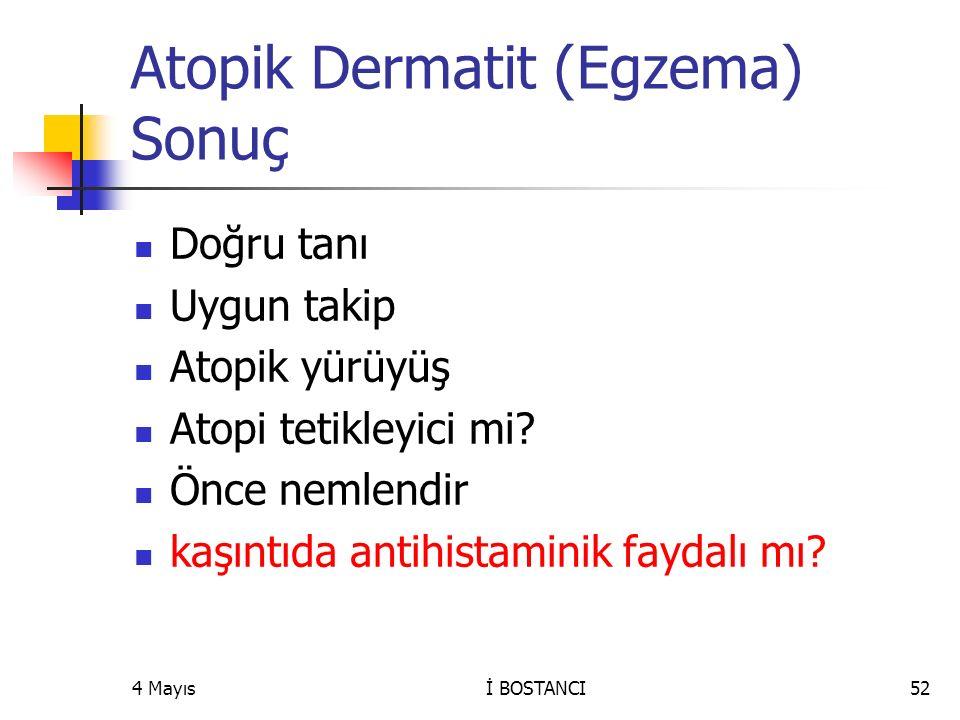 Atopik Dermatit (Egzema) Sonuç
