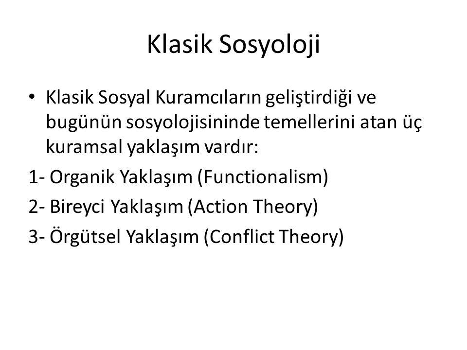 Klasik Sosyoloji Klasik Sosyal Kuramcıların geliştirdiği ve bugünün sosyolojisininde temellerini atan üç kuramsal yaklaşım vardır: