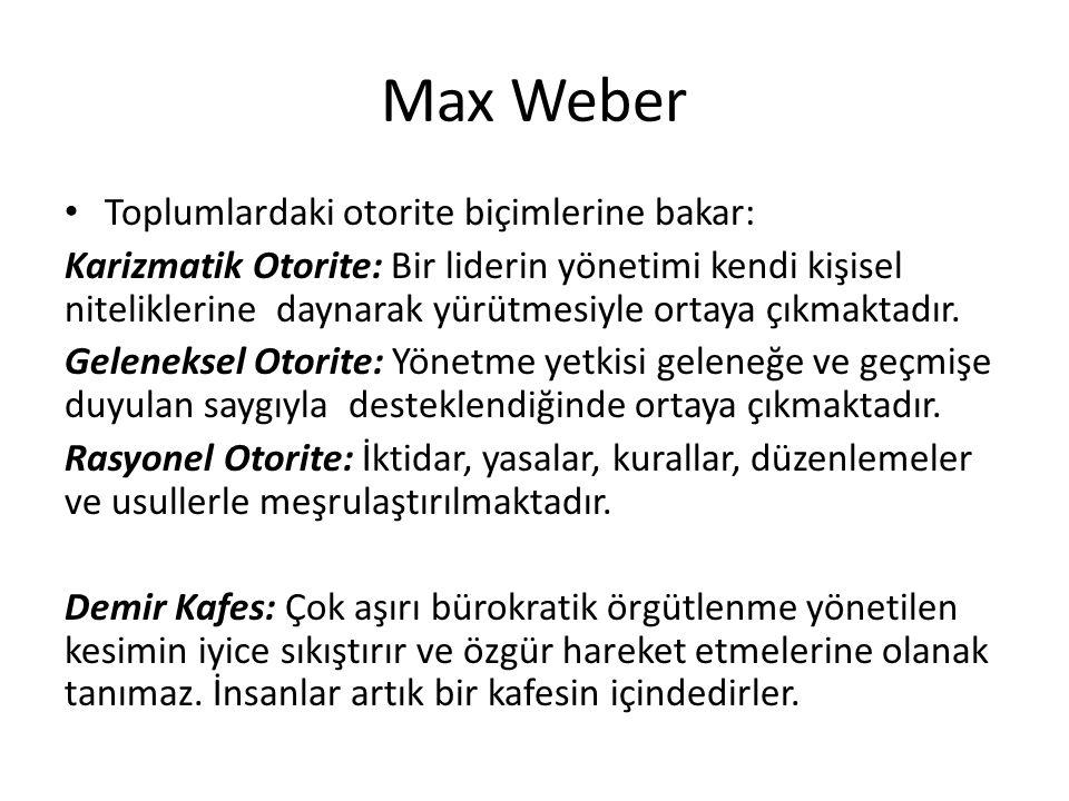 Max Weber Toplumlardaki otorite biçimlerine bakar:
