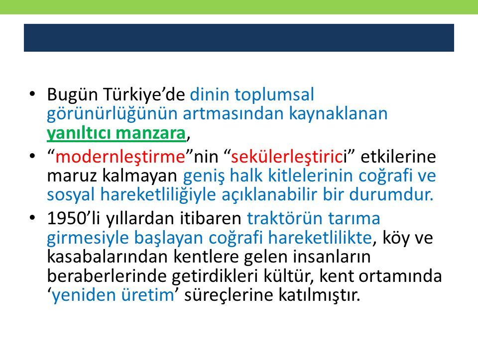 Bugün Türkiye'de dinin toplumsal görünürlüğünün artmasından kaynaklanan yanıltıcı manzara,