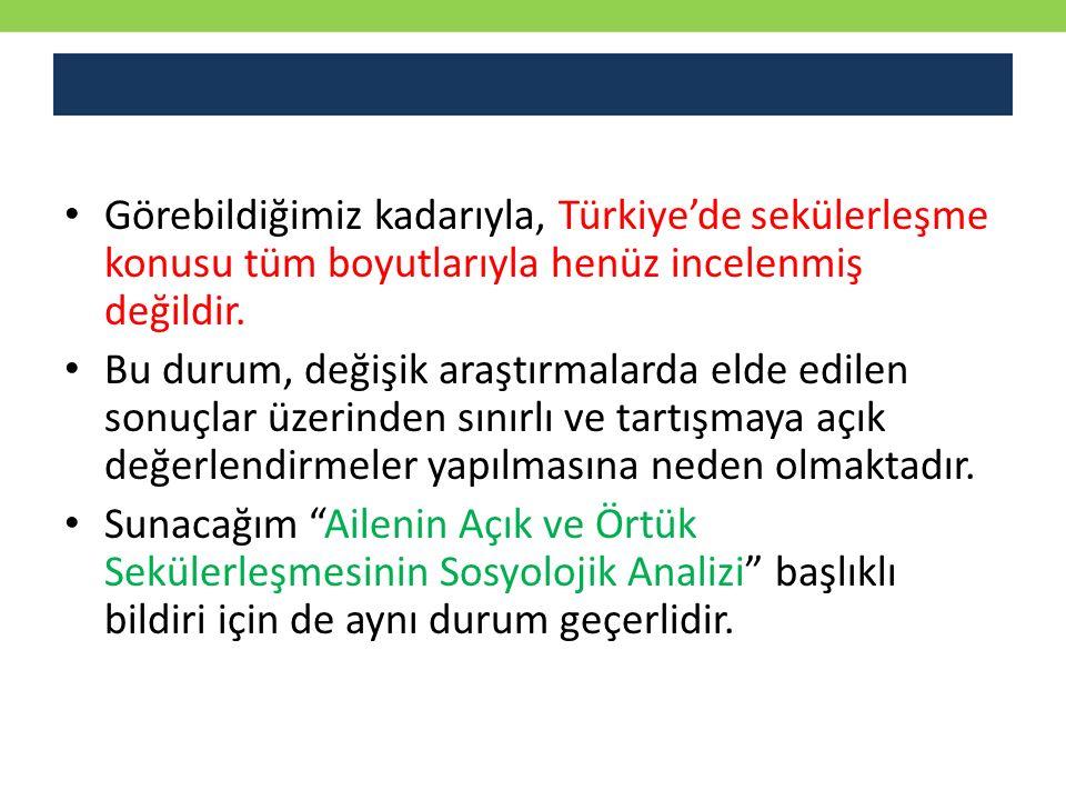 Görebildiğimiz kadarıyla, Türkiye'de sekülerleşme konusu tüm boyutlarıyla henüz incelenmiş değildir.