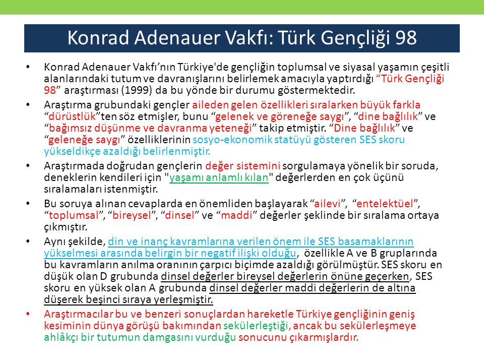 Konrad Adenauer Vakfı: Türk Gençliği 98