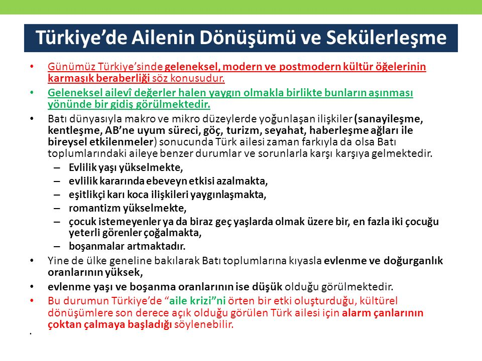Türkiye'de Ailenin Dönüşümü ve Sekülerleşme