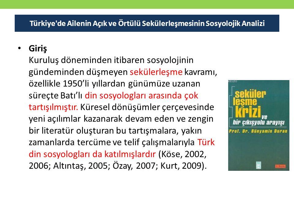 Türkiye de Ailenin Açık ve Örtülü Sekülerleşmesinin Sosyolojik Analizi