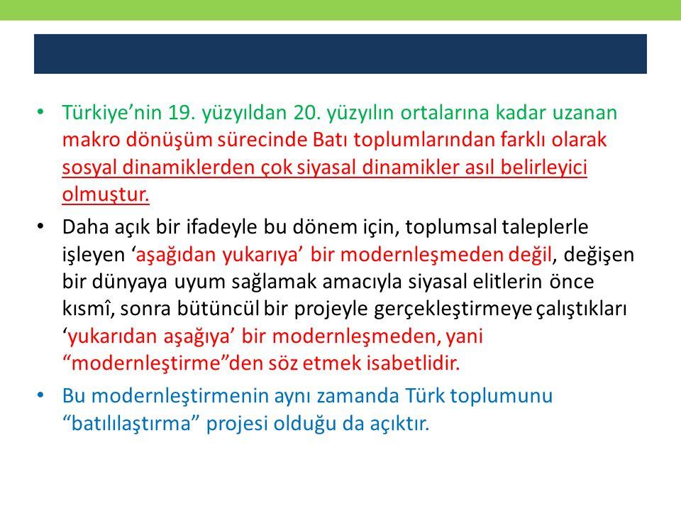 Türkiye'nin 19. yüzyıldan 20