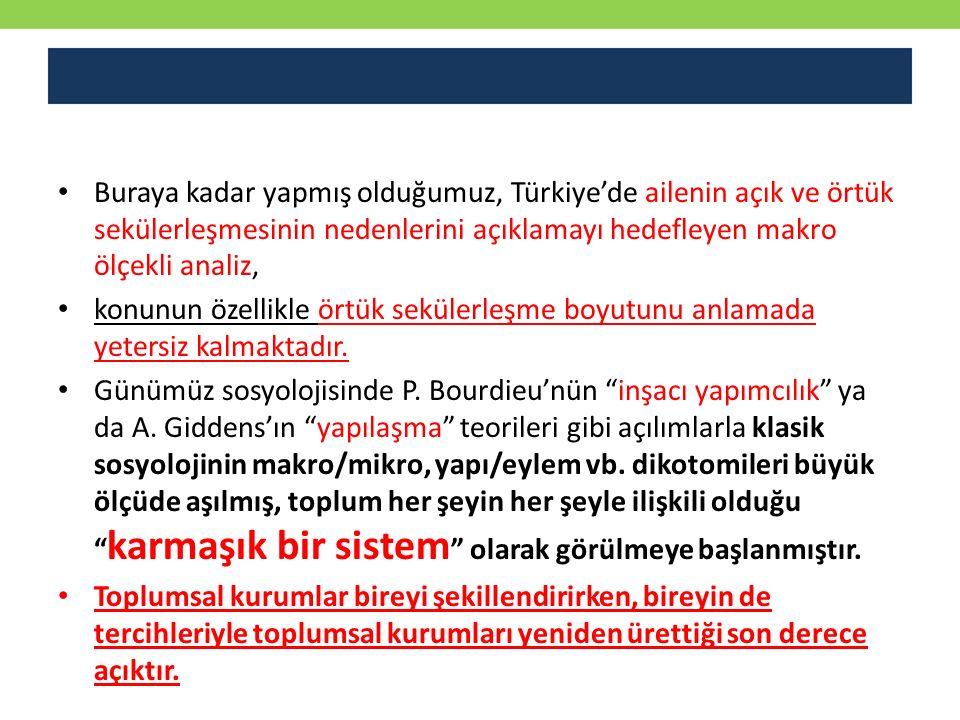 Buraya kadar yapmış olduğumuz, Türkiye'de ailenin açık ve örtük sekülerleşmesinin nedenlerini açıklamayı hedefleyen makro ölçekli analiz,