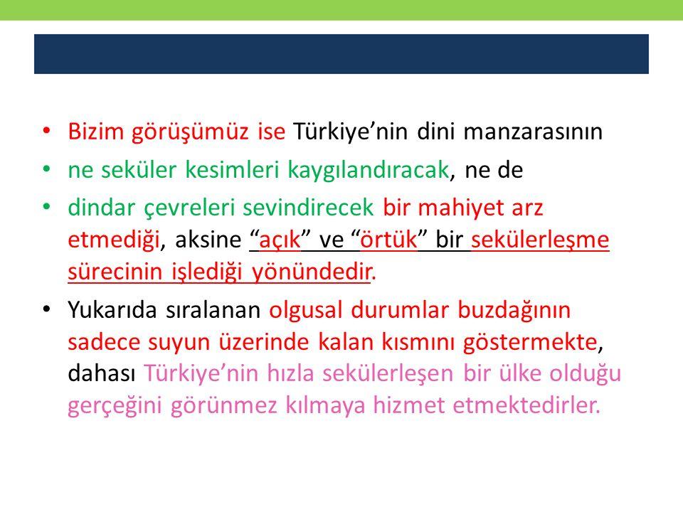 Bizim görüşümüz ise Türkiye'nin dini manzarasının