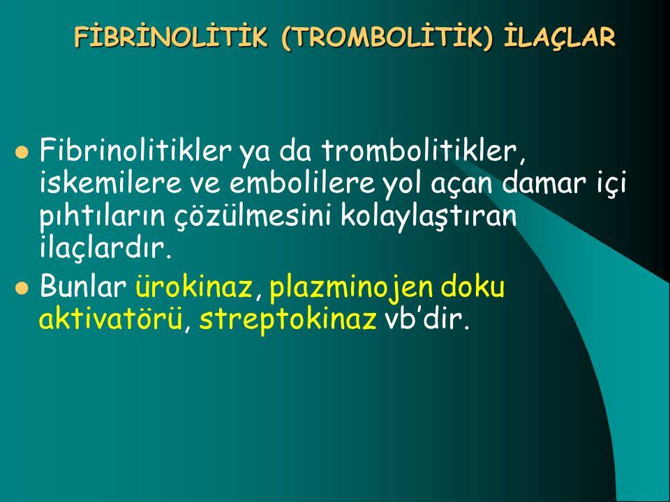 FİBRİNOLİTİK (TROMBOLİTİK) İLAÇLAR