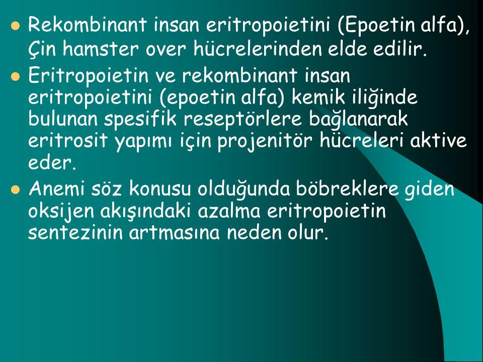 Rekombinant insan eritropoietini (Epoetin alfa), Çin hamster over hücrelerinden elde edilir.