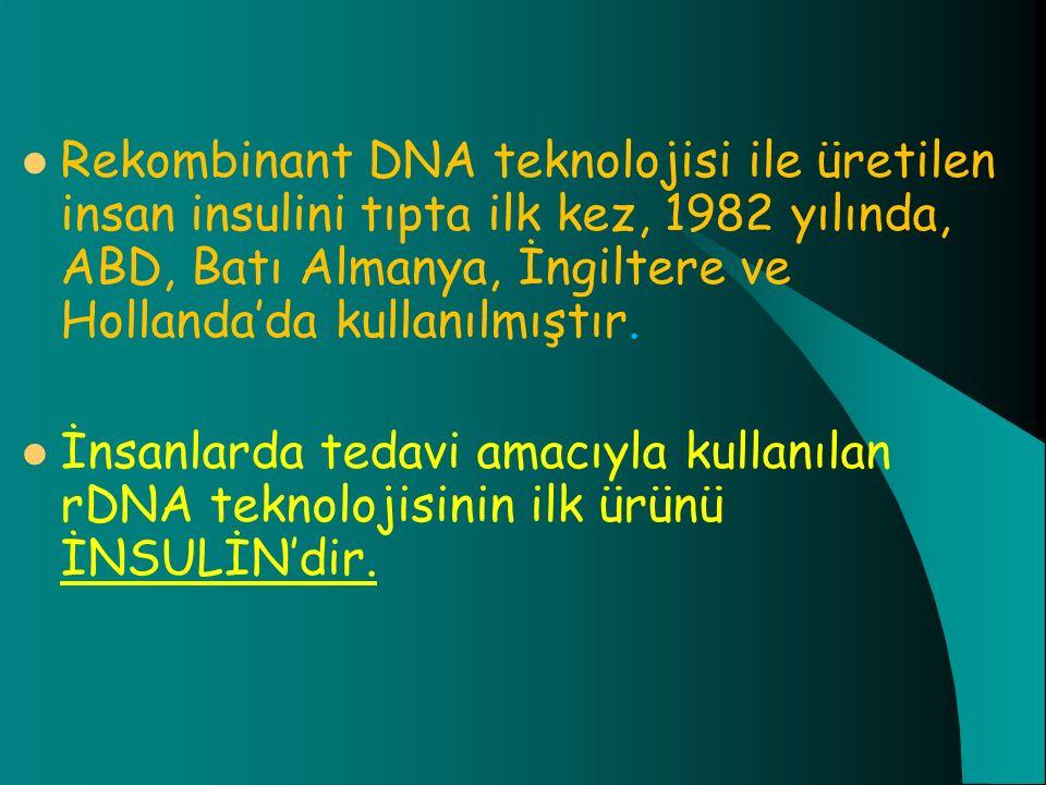 Rekombinant DNA teknolojisi ile üretilen insan insulini tıpta ilk kez, 1982 yılında, ABD, Batı Almanya, İngiltere ve Hollanda'da kullanılmıştır.