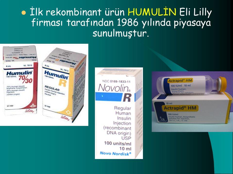 İlk rekombinant ürün HUMULİN Eli Lilly firması tarafından 1986 yılında piyasaya sunulmuştur.