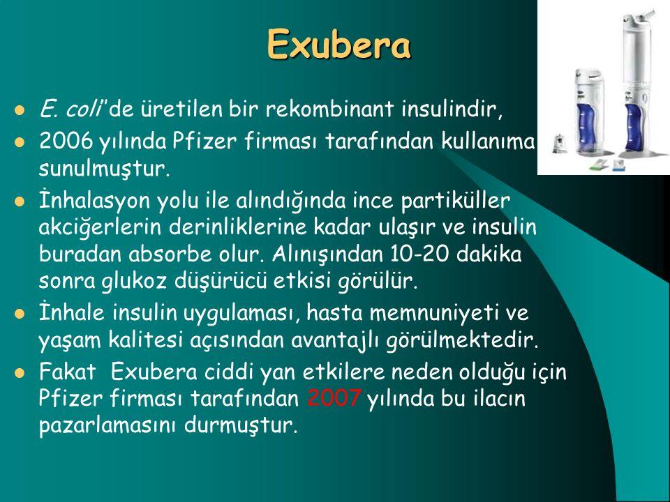 Exubera E. coli''de üretilen bir rekombinant insulindir,