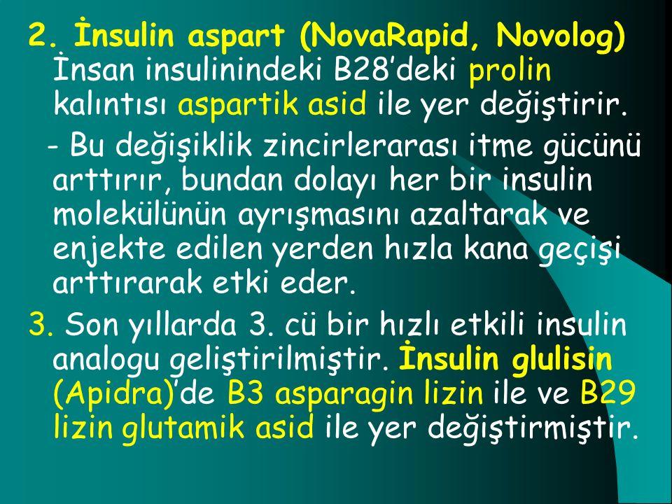 2. İnsulin aspart (NovaRapid, Novolog) İnsan insulinindeki B28'deki prolin kalıntısı aspartik asid ile yer değiştirir.
