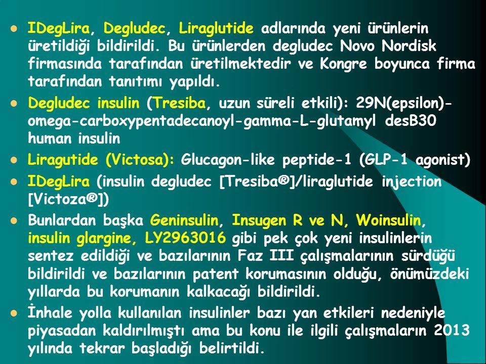 IDegLira, Degludec, Liraglutide adlarında yeni ürünlerin üretildiği bildirildi. Bu ürünlerden degludec Novo Nordisk firmasında tarafından üretilmektedir ve Kongre boyunca firma tarafından tanıtımı yapıldı.