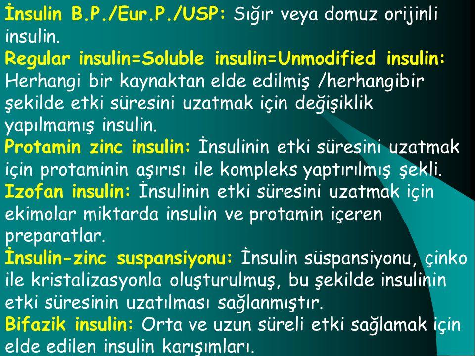 İnsulin B.P./Eur.P./USP: Sığır veya domuz orijinli insulin.