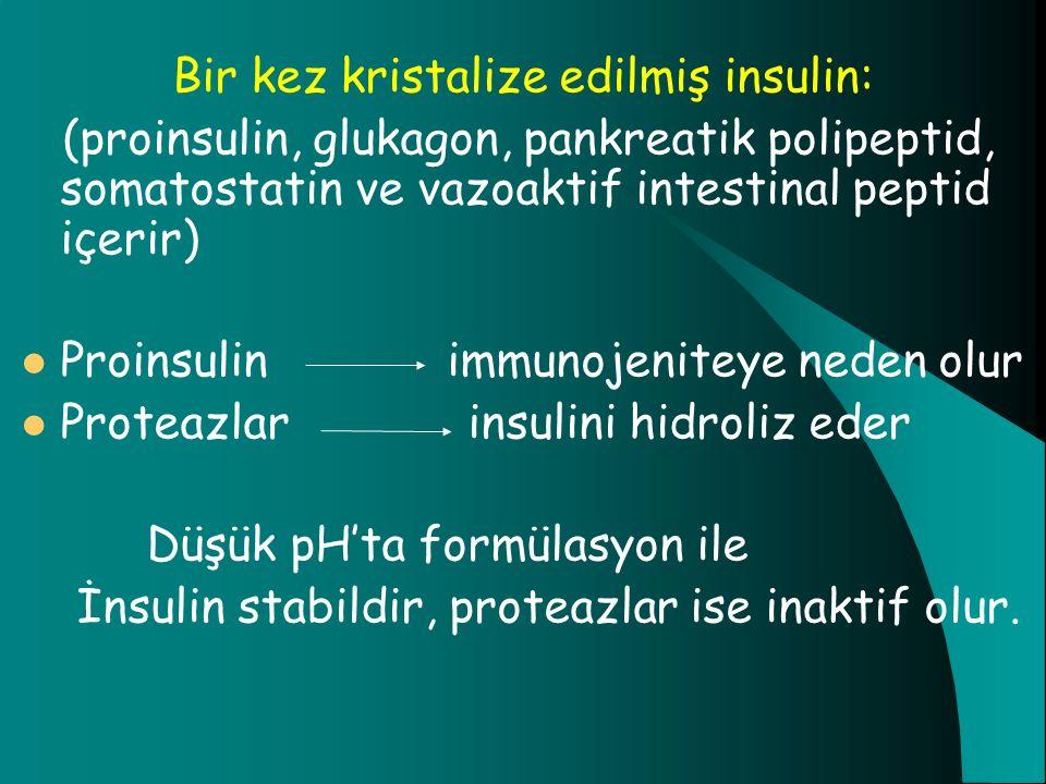 Bir kez kristalize edilmiş insulin:
