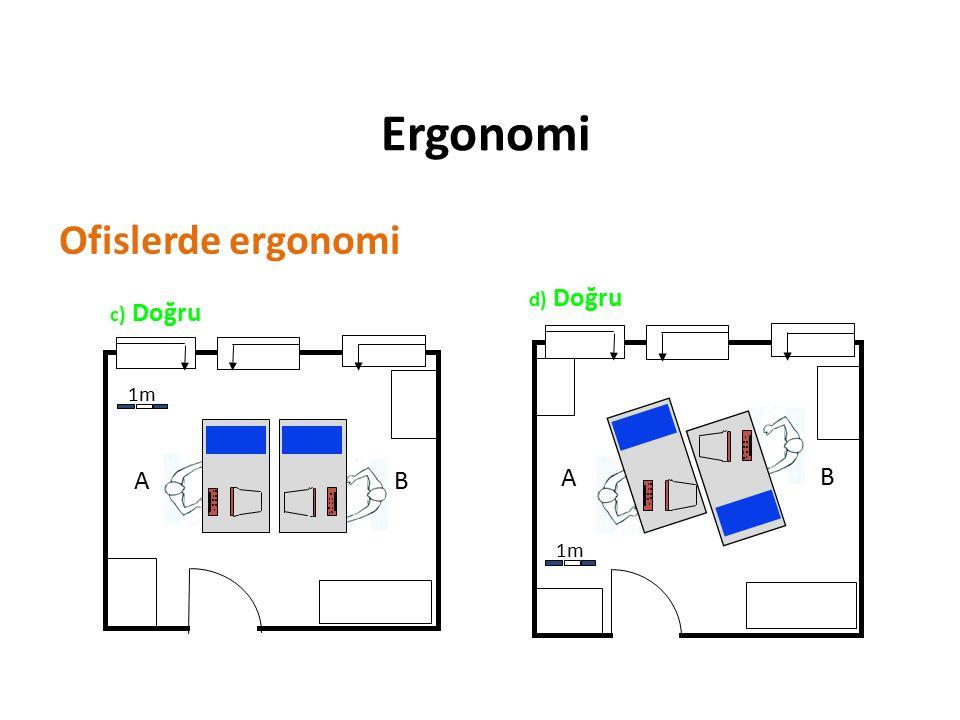 Ergonomi Ofislerde ergonomi 1m A B d) Doğru c) Doğru 1m A B