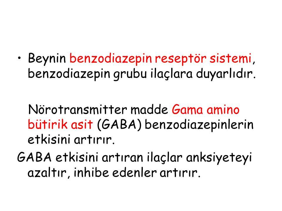 Beynin benzodiazepin reseptör sistemi, benzodiazepin grubu ilaçlara duyarlıdır.