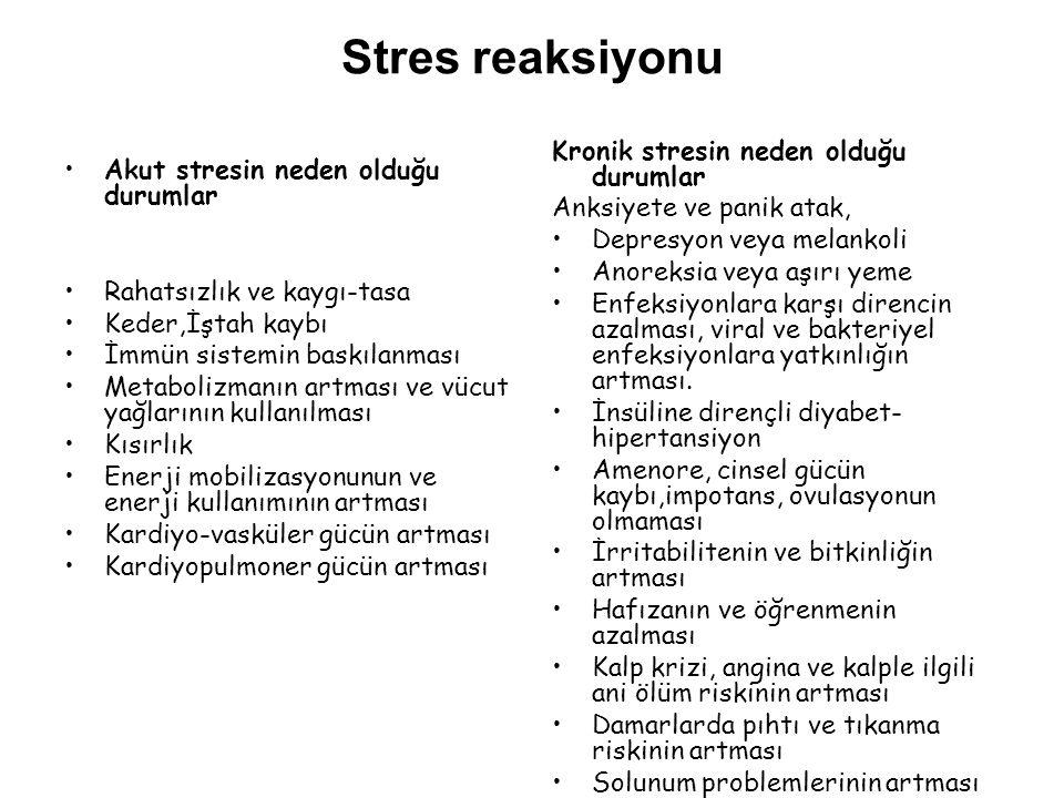 Stres reaksiyonu Kronik stresin neden olduğu durumlar
