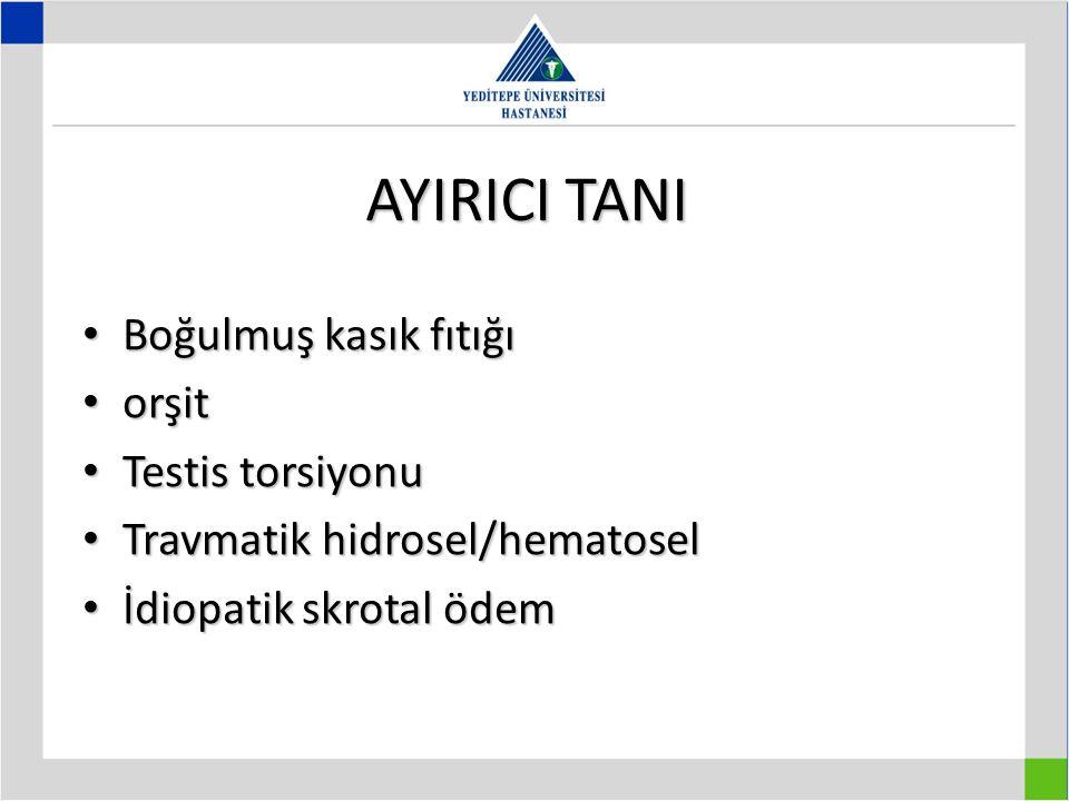 AYIRICI TANI Boğulmuş kasık fıtığı orşit Testis torsiyonu