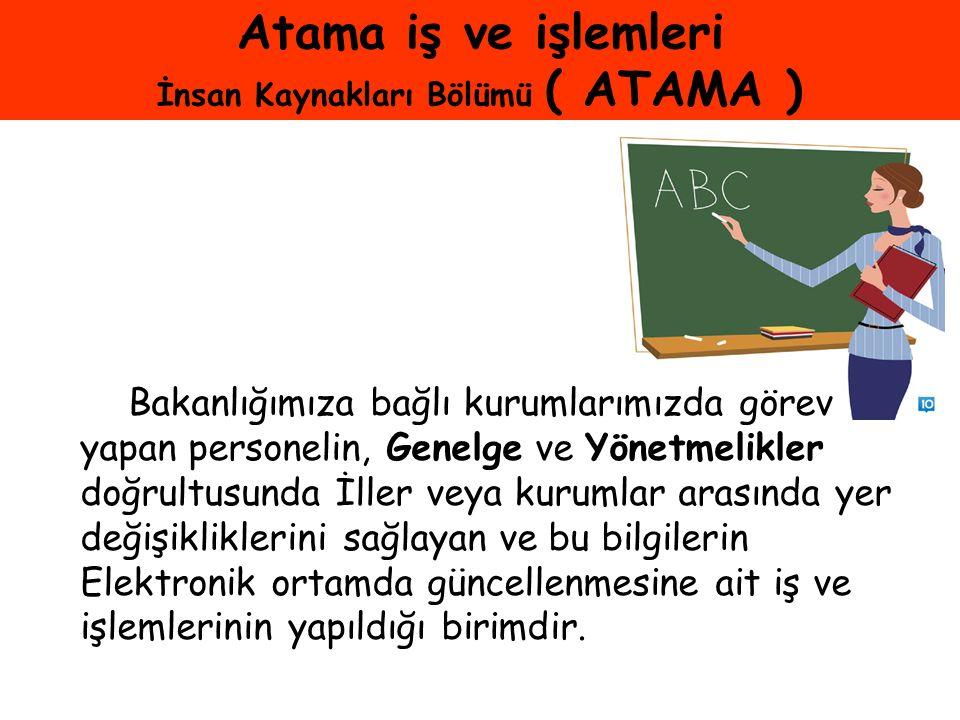 Atama iş ve işlemleri İnsan Kaynakları Bölümü ( ATAMA )