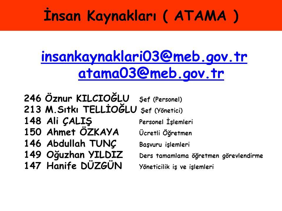 İnsan Kaynakları ( ATAMA )