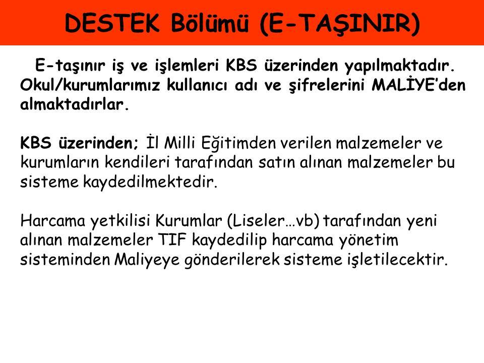 DESTEK Bölümü (E-TAŞINIR)