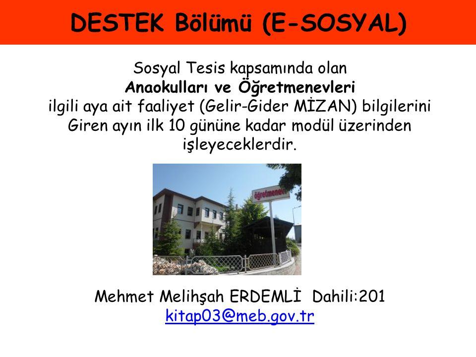 DESTEK Bölümü (E-SOSYAL)