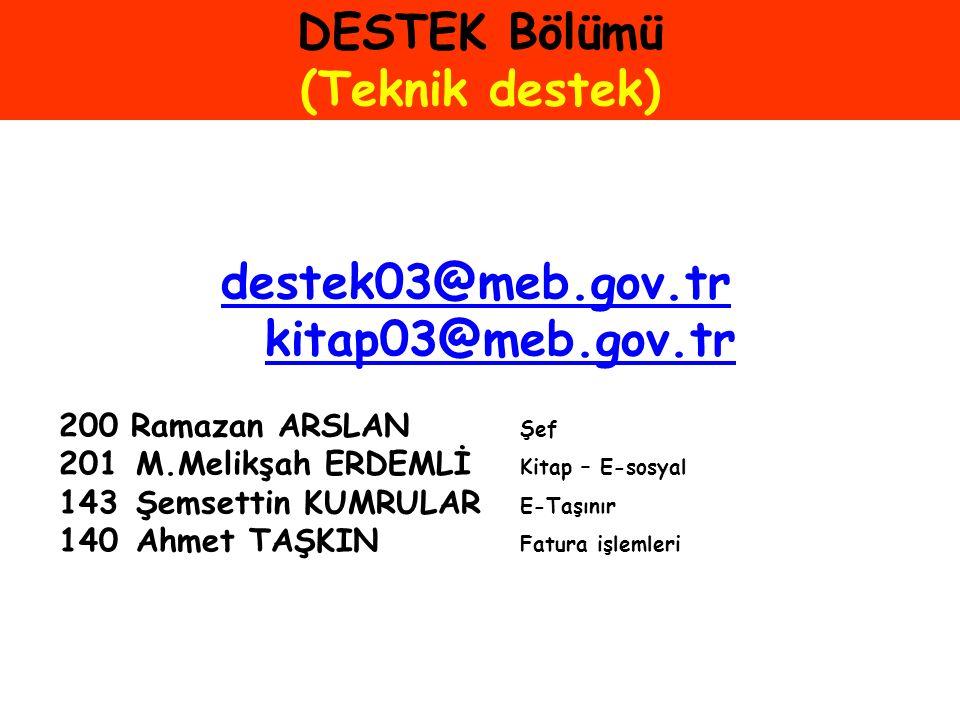 DESTEK Bölümü (Teknik destek)