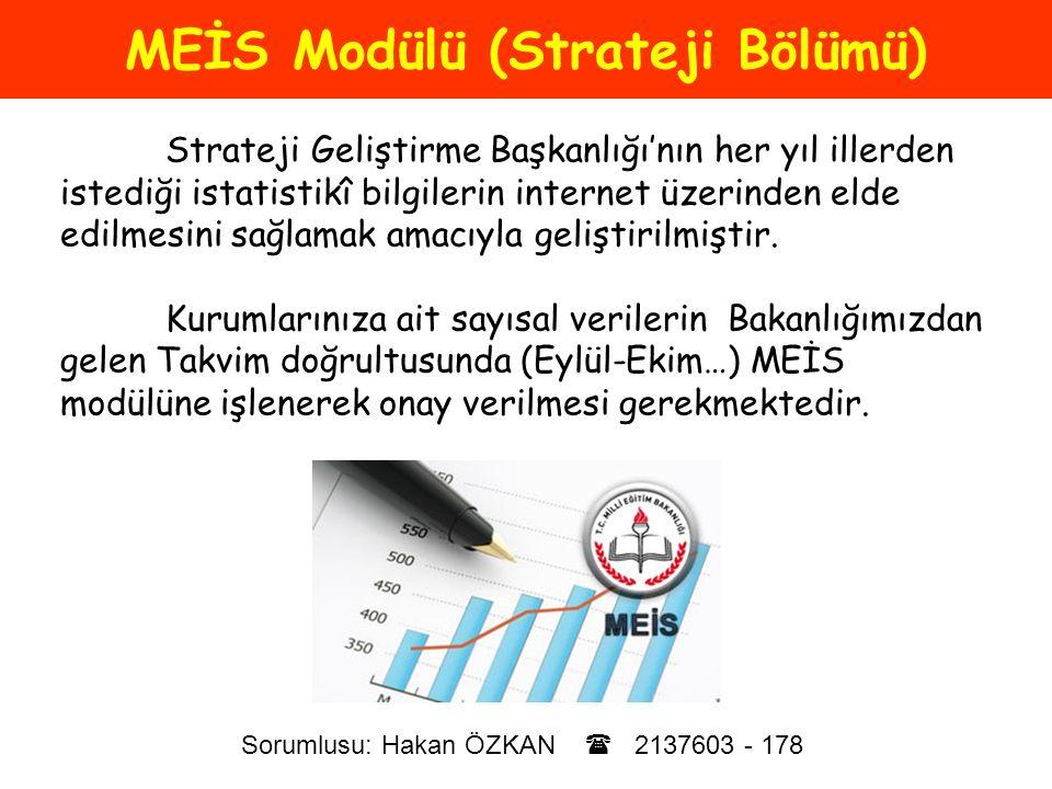 MEİS Modülü (Strateji Bölümü)