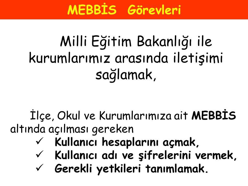 Milli Eğitim Bakanlığı ile kurumlarımız arasında iletişimi sağlamak,