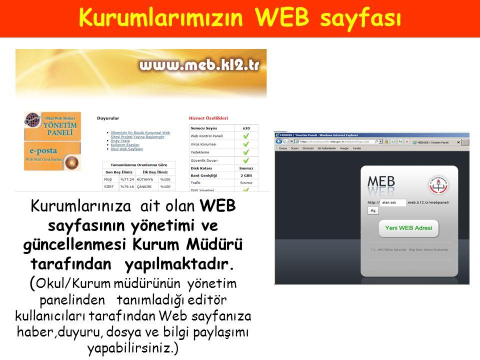 Kurumlarımızın WEB sayfası
