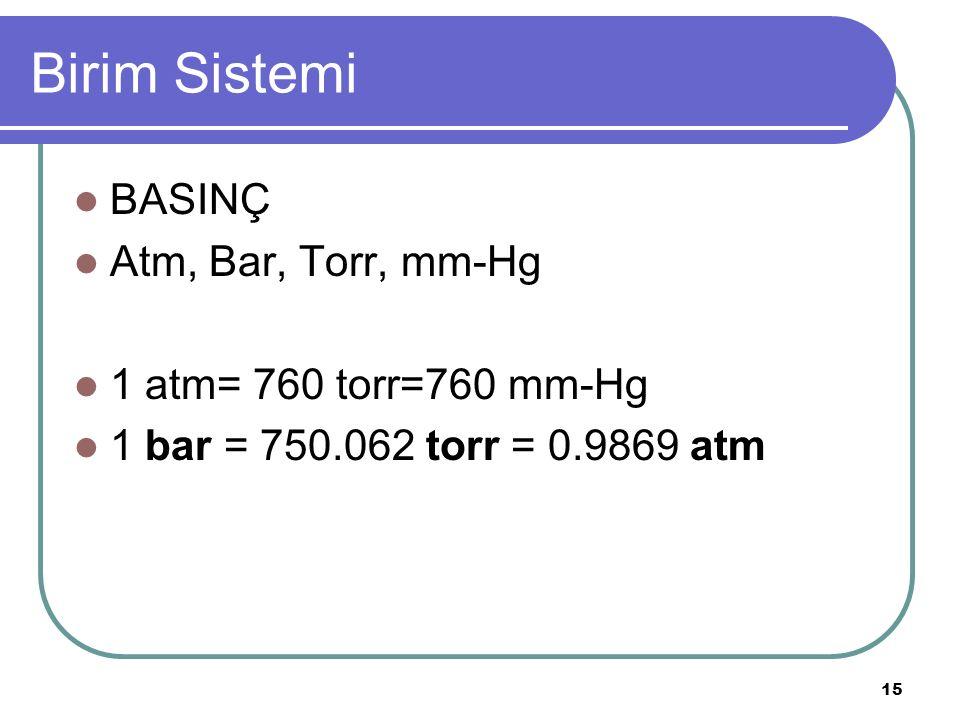 Birim Sistemi BASINÇ Atm, Bar, Torr, mm-Hg 1 atm= 760 torr=760 mm-Hg