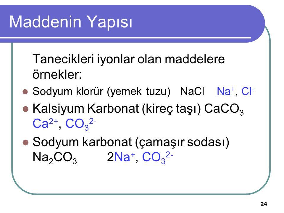 Maddenin Yapısı Tanecikleri iyonlar olan maddelere örnekler: